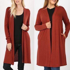 30% OFF 2/MORE REG & PLUS Knit Cardigan Dark Rust